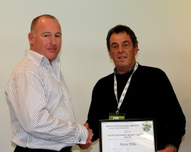 Porter Group CEO, Darren Ralph congratulates Stevenson Group's Steve Ellis.